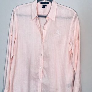 RALPH LAUREN {L} Linen Blouse Blush